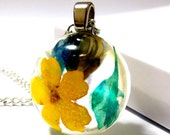 Flirty Yellow and Turquoise Blue Floral Resin Pendant Necklace: Libby