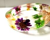 Real Flower Resin Bangle Bracelet: Heather