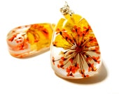 Orange and Yellow Real Flower Earrings.Resin Dangle earrings. Honeysuckle