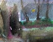 Night Scene, Giclee Print 5 x 7, Night Landscape, Moonlight, Golden Glow, Fine Art Print, (Series of Details, Studies, Sketchbook work)