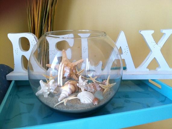 Custom Beach Wedding Real Shells Sand Starfish Seaglass Bubble Glass Vase Home Decor Centerpiece Beach Display