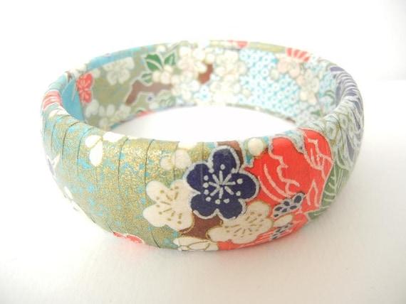 Japanese Chiyogami Paper Decoupage Wooden Bangle - Turquoise Sakura (Cherry Blossom)