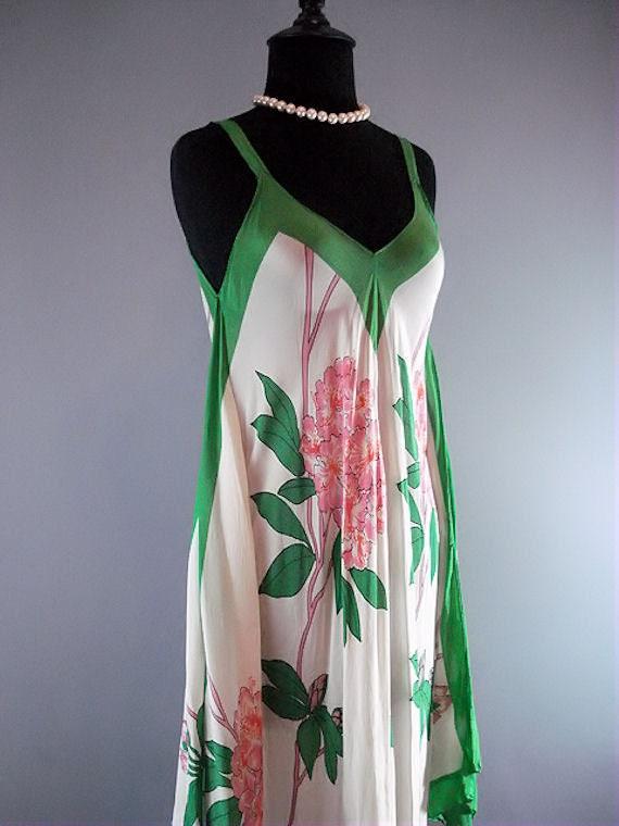 Vintage Silk Scarf Dress // 1970s Boho Gauzy Sheer Floral Maxi Length Dress with Shawl