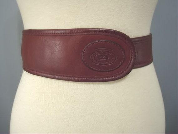 """Vintage Aigner Leather Belt // 1970s Hand Crafted Horseshoe """"A"""" Wide Cinch Belt MED"""
