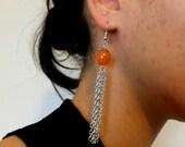 Handmade Coral Chain Dangly Earrings