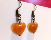 Handmade Red Jade Heart Shaped Dangly Earrings