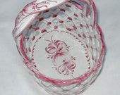 Pink & White Ceramic basket