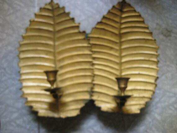Vintage Goldtone/Brass Palm Leaf Wall Candle Sconces