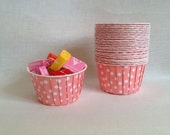 Light pink and white polka dots baking cups, candy cups, treat cups, Birthday Party Decorations and supplies