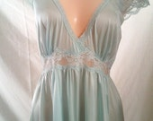 RESERVED for Lily - Sky Blue Vintage Nightie by Miss. Elaine S/M