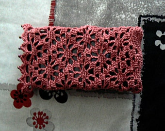 Cellphone in cotton wood pink and beads