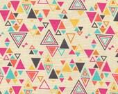 Washi in Beige by Rashida Coleman Hale - 1/2 Yard - Cotton - Triangle Fabric - Geometric Fabric - Aqua  - Fuschia Fabric