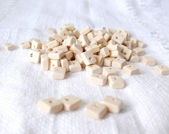 9x7 mm natural wooden rectangular beads 25 pcs eco friendly
