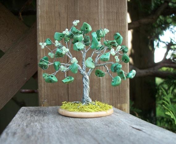 Tiny Tree - Dyed Green Howlite
