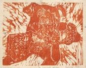 Leroy Brown the Pitt Wood Block Relief Print