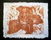 Leroy Brown the Pitt Wood Block Relief Print on White handmade paper