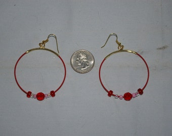 Red Hoop Earrings - 0483