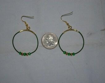 Green Hoop Earrings - 0489