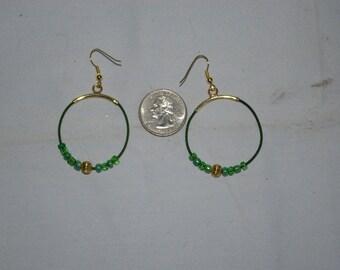 Green Hoop Earrings - 0490