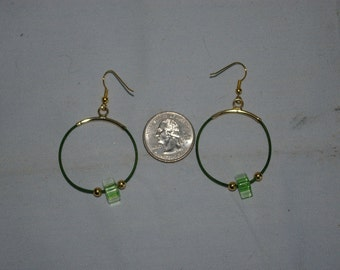 Green Hoop Earrings - 0493