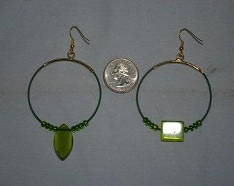 Green Hoop Earrings - 0495