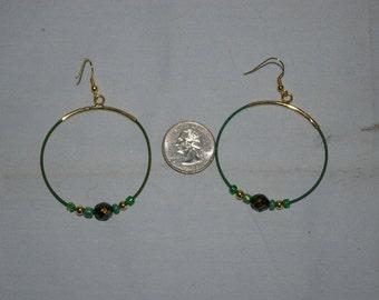 Green Hoop Earrings - 0496