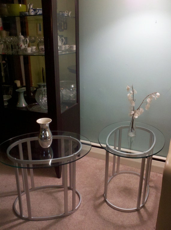 Pair of Silver and Glass transitional living room end tables
