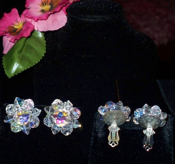 Two Pair Vintage Clip-on Earrings - Aurora Borealis crystal beaded