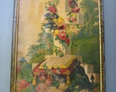 Vintage Picture-1878 Religious Bible Cross Hope Banner Picture