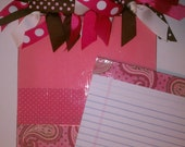 Cute Pink and Brown, Paisley and Polka Dot Clipboard in Notepad Size