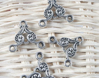 50pcs antiqued silver two sides 3holes pendant/link G1295