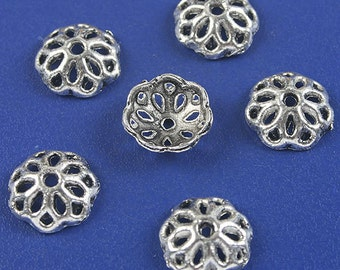 70pcs dark silver flower beads caps h5001