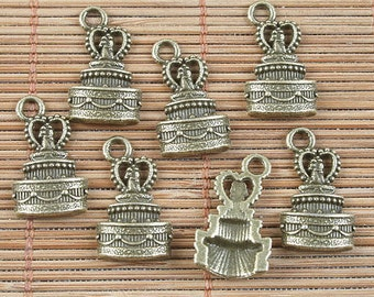 24pcs antiqued bronze bridecake design pendant h5035