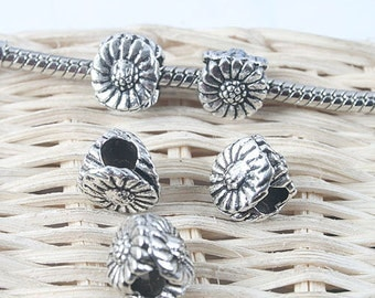 20pcs antique silver 3sides flower spacer beads G1307