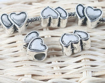 16pcs antiqued silver two sides heart spacer beads G1320