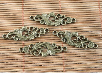 24pcs antiqued bronze flower pendant/link G1515