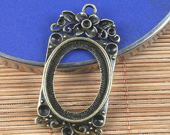 6pcs antiqued bronze frame pendant G1546