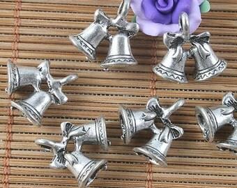 24pcs antiqued silver couple bells design pendant G1552