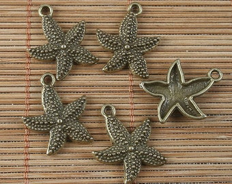 28pcs antiqued bronze starfish pendant G1668