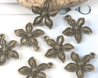 30pcs antiqued bronze flower pendant G1675