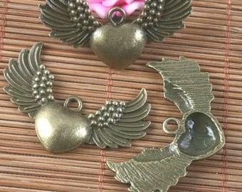 8pcs antiqued bronze heart with wings pendant G1603