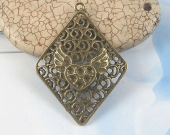 8pcs antiqued bronze rhombus heart with wings design pendant G1674