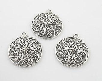 12pcs Tibetan Silver flower circle charm pendants X0013
