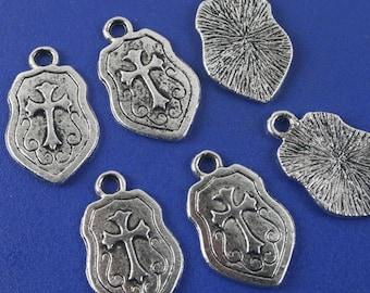 22pcs antiqued silver cross pendant charm G1145
