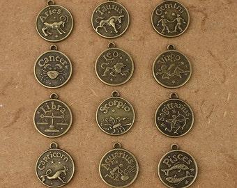 12pcs antiqued bronze color metal pendant / Zodiac pendants AB0005