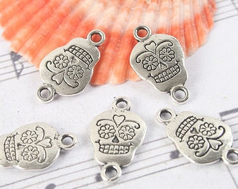 30pcs antiqued silver two sides skull link/pendant G1184