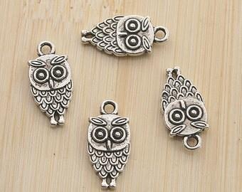 30pcs Tibetan silver color two sides owl design pendant charm G1914
