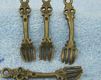 40pcs antiqued bronze color fork style pendant charm G1903