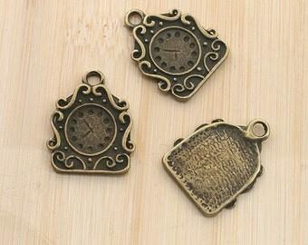 10pcs antiqued bronze color clock design pendant charm G1968