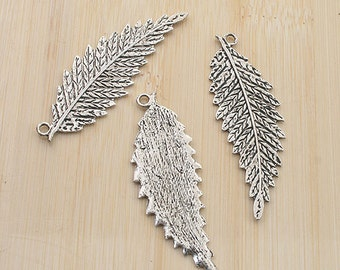 10pcs antiqued silver color leaf pendant charm G1973